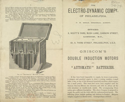 Advert for the Electro-Dynamic Company of Philadelphia